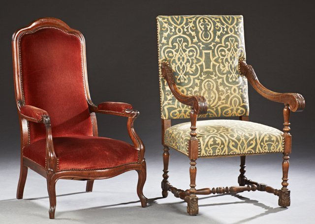 Group of Two French Carved Beech Armchairs, 19th c, one