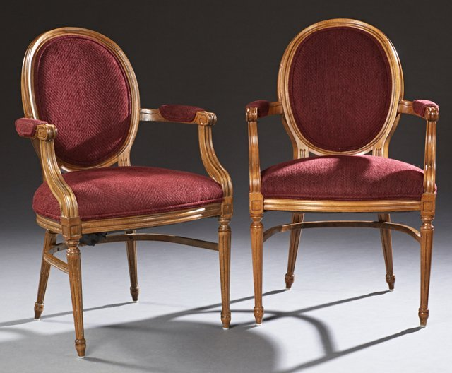 Pair of Carved Beech Louis XVI Style Fauteuils, 20th