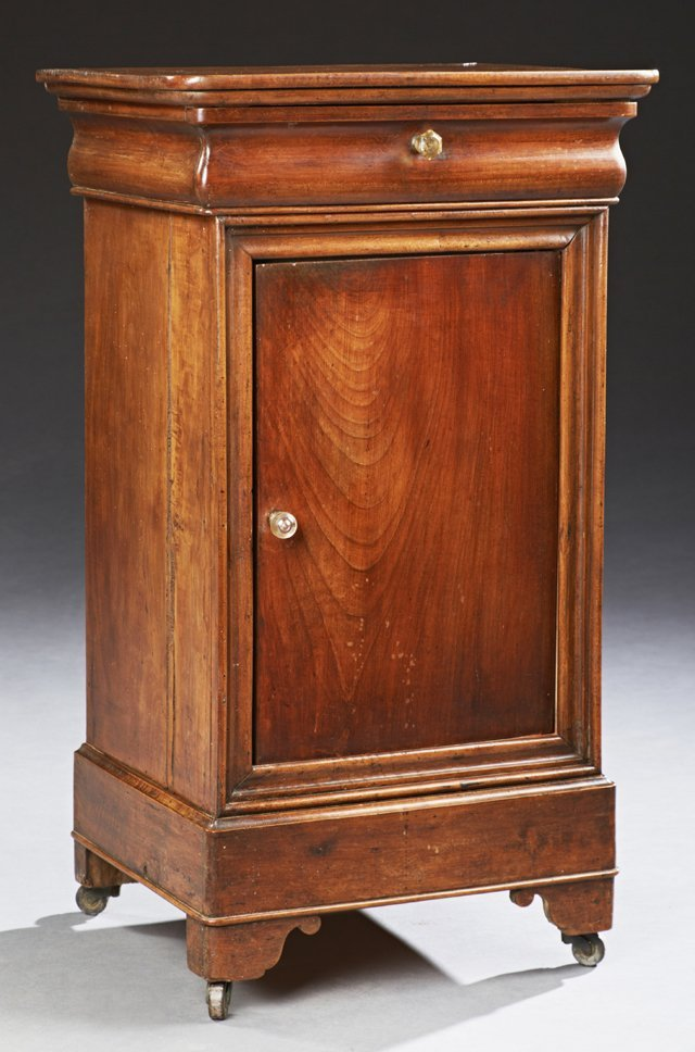 French Louis Philippe Style Carved Cherry Nightstand,