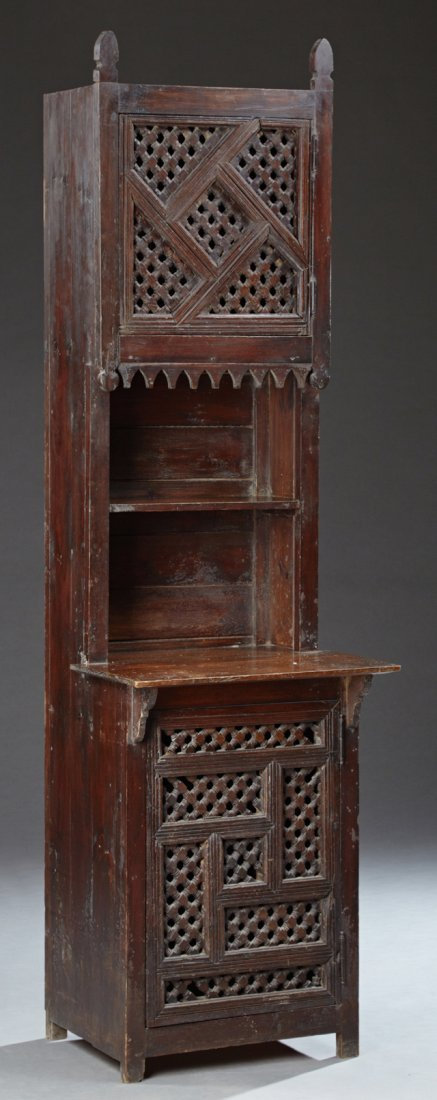 French Brittany Style Carved Pine Narrow Cupboard,