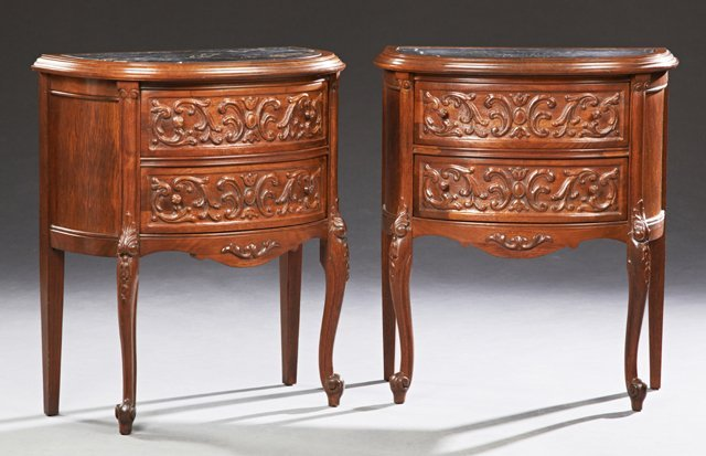 Pair of Continental Louis XV Style Carved Mahogany
