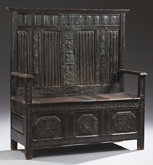 French Medieval Style Carved Oak Settee, mid 19th c.,