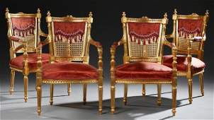 Set of Four French Louis XVI Style Giltwood Armchairs