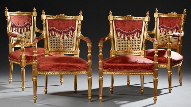 Set of Four French Louis XVI Style Giltwood Armchairs,