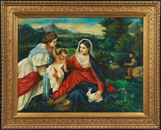 "Chinese School, ""Mary with Infant Jesus in a Field with"