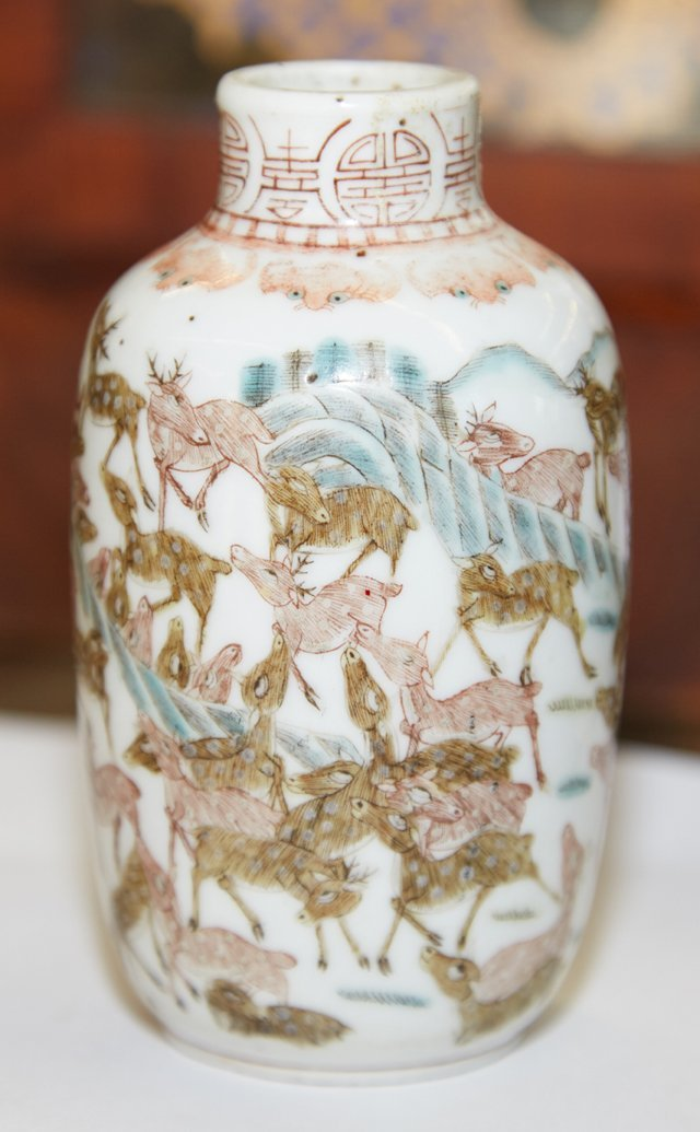 Chinese Porcelain Table Snuff Bottle, 19th c., with - 5