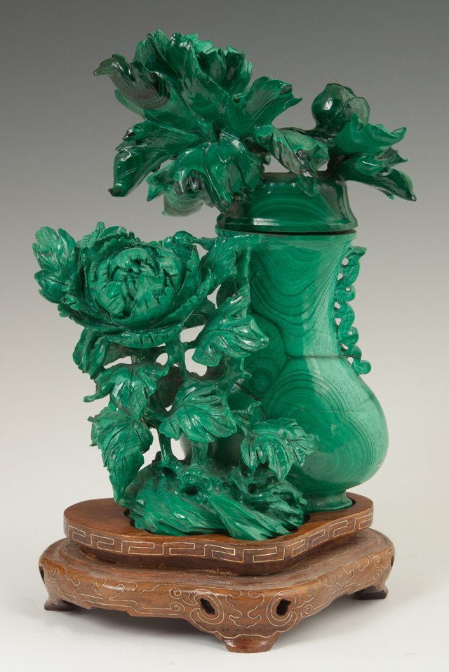 Chinese Carved Malachite Covered Bottle, 20th c., with