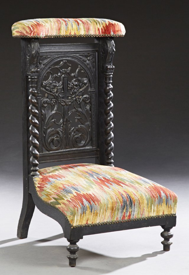 French Ebonized Walnut Prie Dieu, c. 1870, the