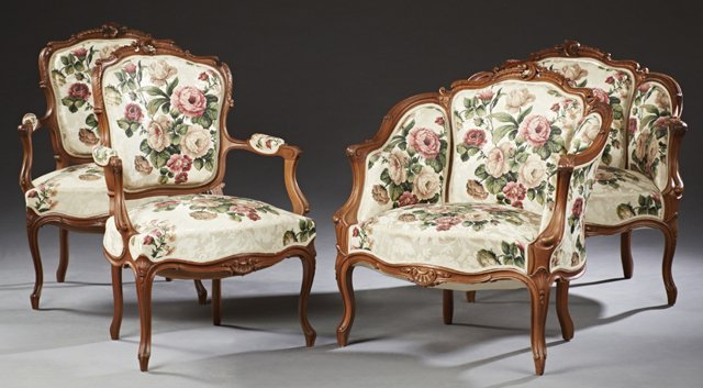 Set of Four French Louis XV Style Armchairs, early 20th