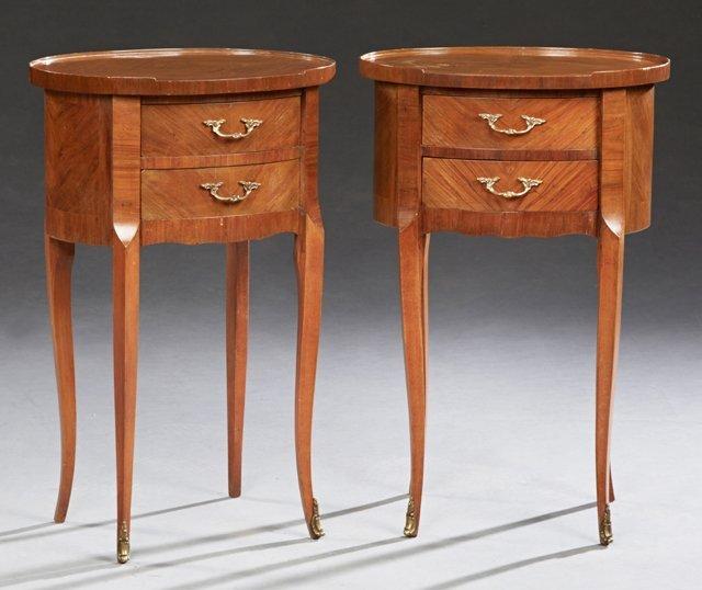 Pair of Louis XV Style Inlaid Mahogany Nightstands,