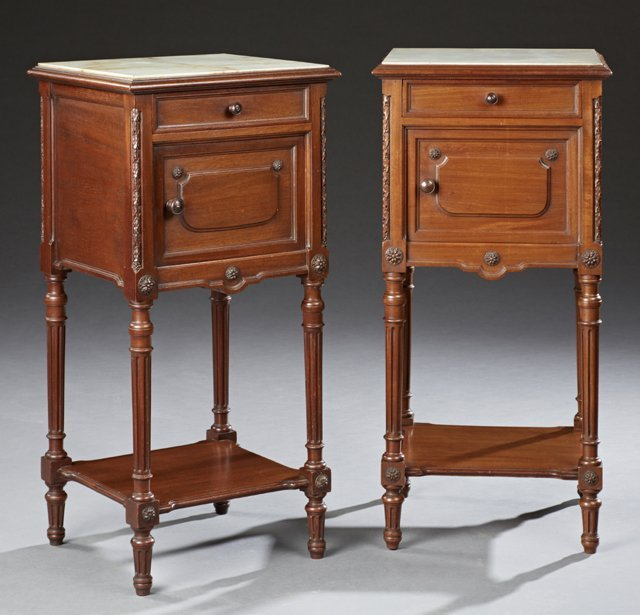 Pair of French Louis XVI Style Carved Walnut Onyx Top