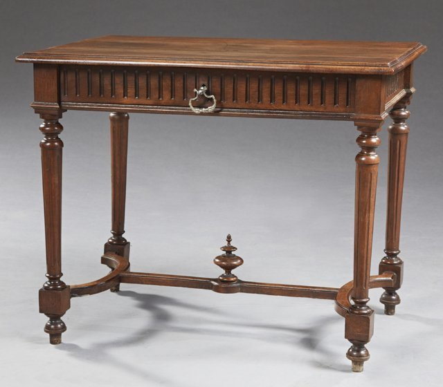 French Louis XVI Style Carved Walnut Writing Table,