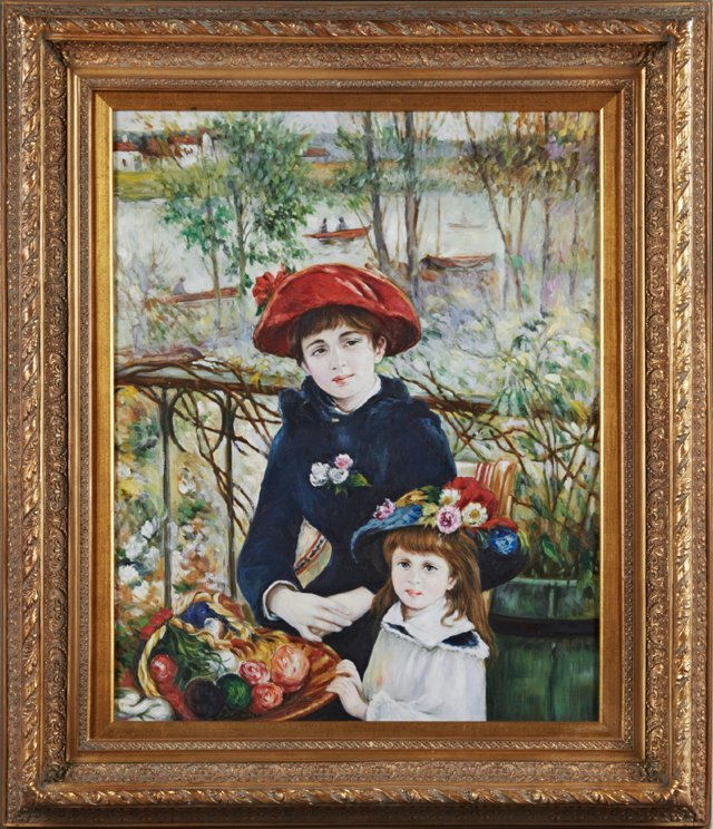 """Chinese School, """"Mother and Daughter,"""" 20th c., oil on"""
