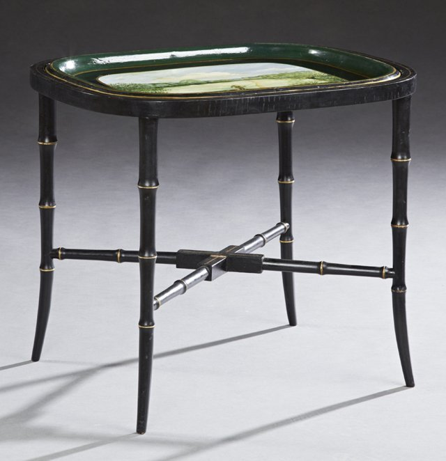 English Tole Tray Coffee Table, c. 1910 and later, the