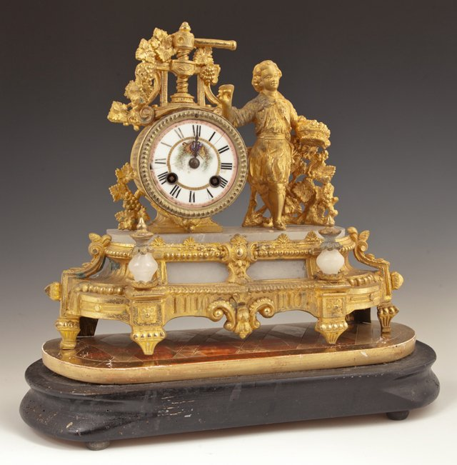 French Gilt Spelter and Alabaster Figural Mantel Clock,