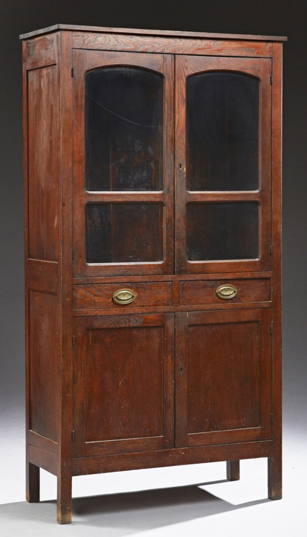 American Carved Oak Pie Safe, late 19th c., with two