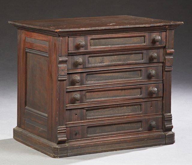 American Carved Poplar Six Drawer Spool Cabinet, c.