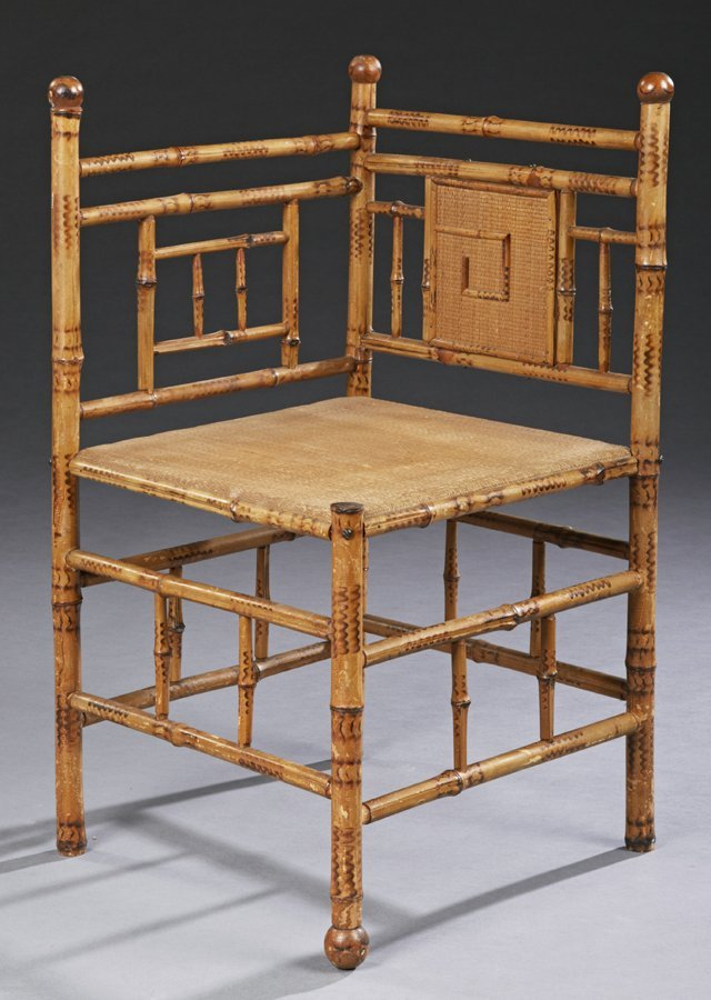 Anglo Indian Bamboo Corner Chair, c. 1880, with a woven
