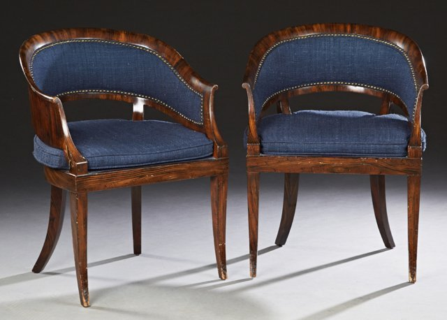 Pair of Contemporary Rosewood Grained Barrel Back
