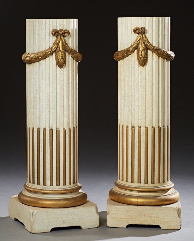 Pair of Louis XVI Style Polychromed Beech Pedestals,