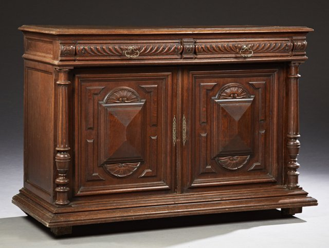 French Henri II Style Carved Oak Sideboard, c. 1880,