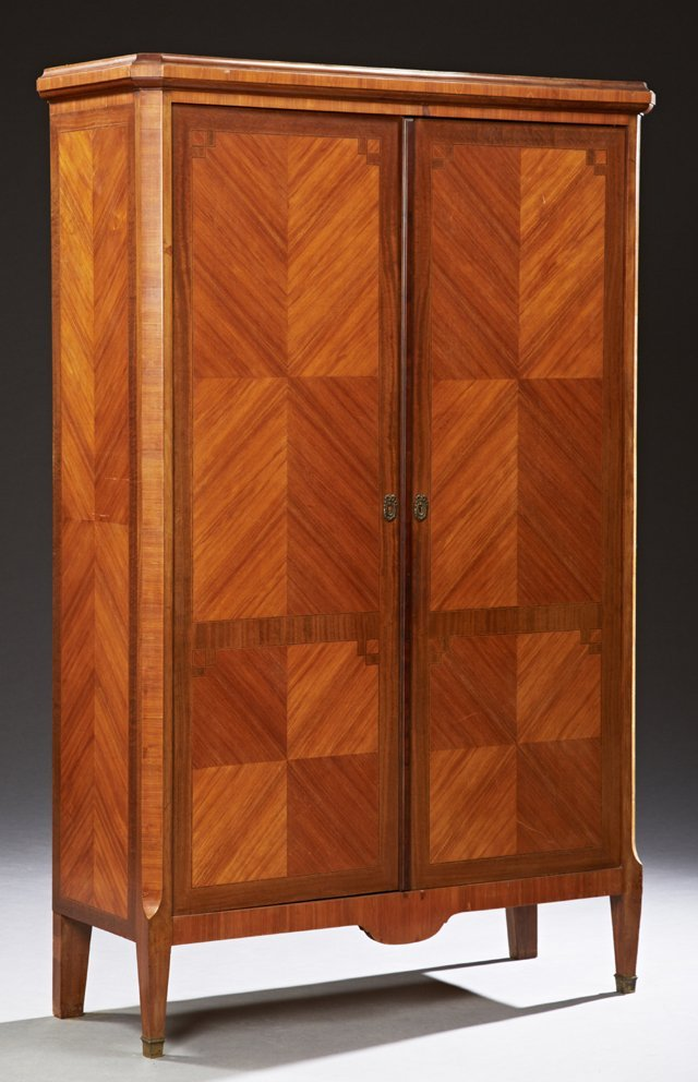French Louis XVI Style Carved Inlaid Mahogany Armoire,