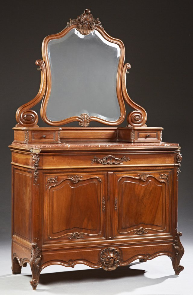 Louis XV Style Carved Walnut Marble Top Chest, c. 1900,