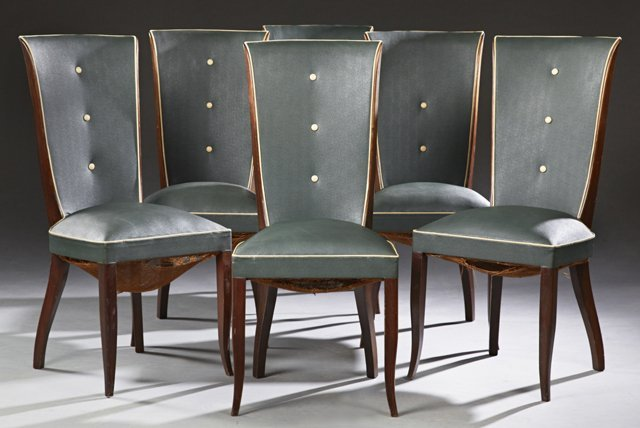 Set of Six Carved Mahogany Art Deco Dining Chairs, c.