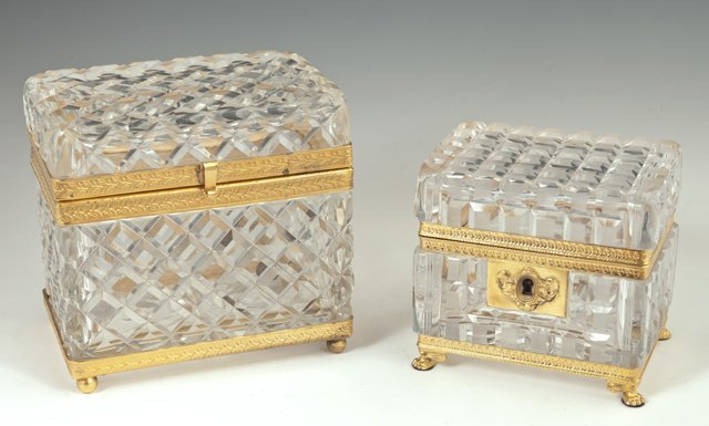 Two Gilt Brass and Crystal Dresser Boxes, early 20th