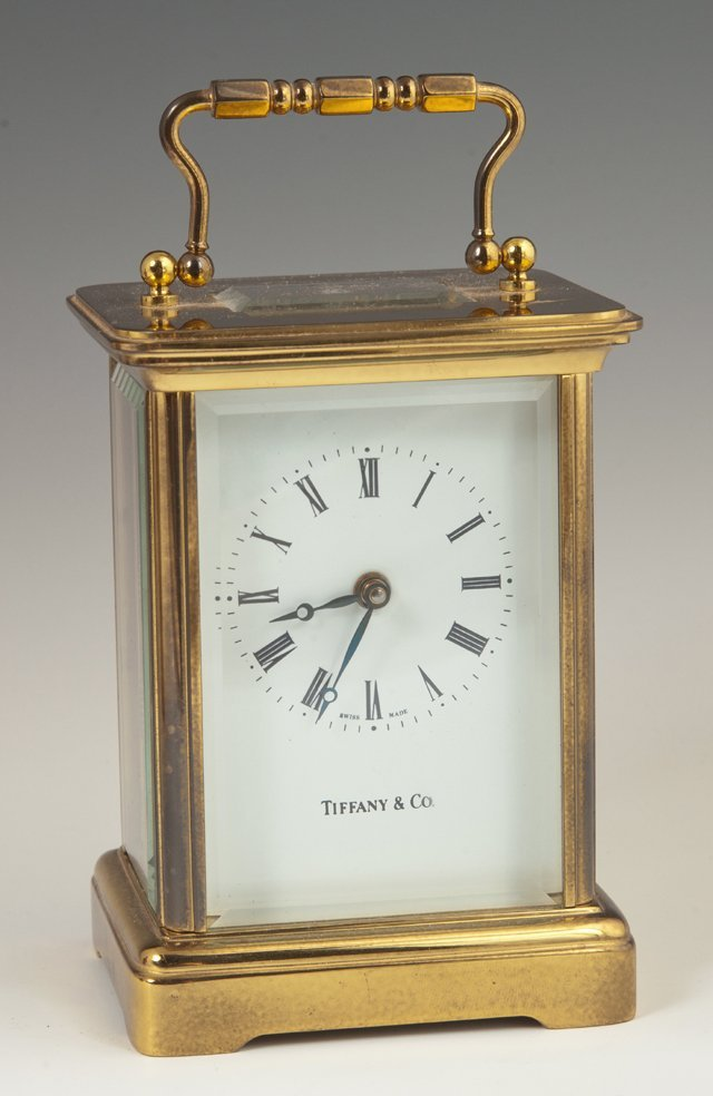 Tiffany & Co. Brass Carriage Clock, 20th c., the