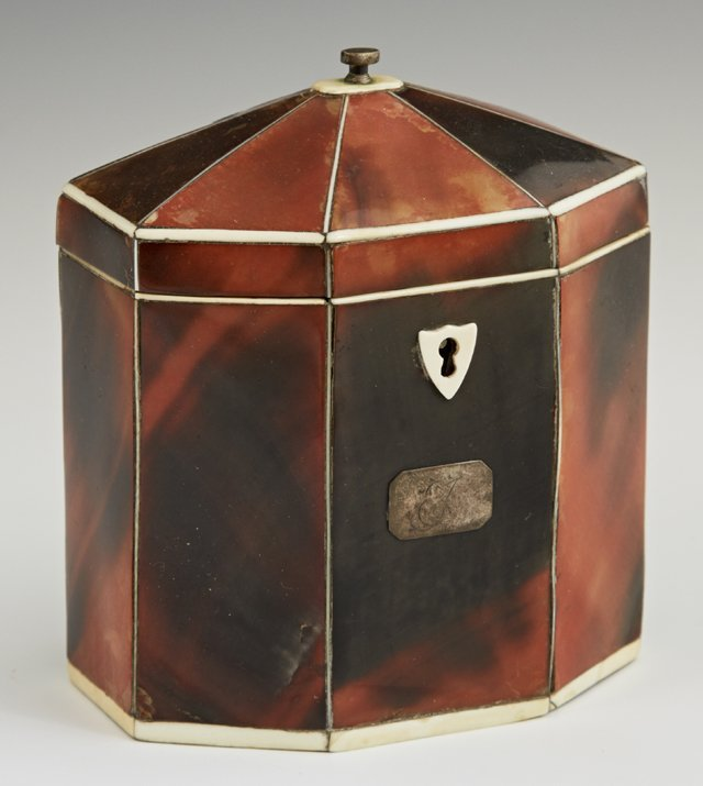 Diminutive Octagonal Tortoise Shell Tea Caddy, early