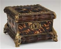 English Brass Mounted Tortoise Shell Clad Dresser Box