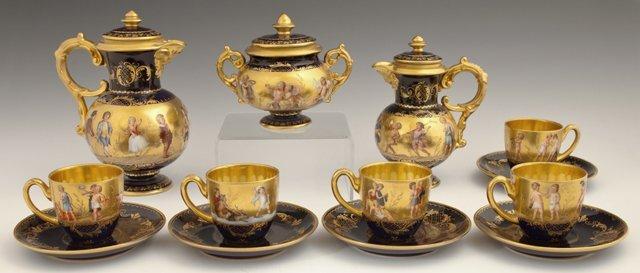 Thirteen Piece Royal Vienna Cobalt Porcelain Tea Set,