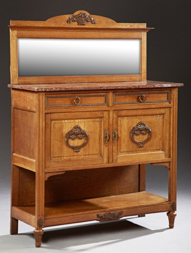 French Art Deco Marble Top Carved Oak Sideboard, c.