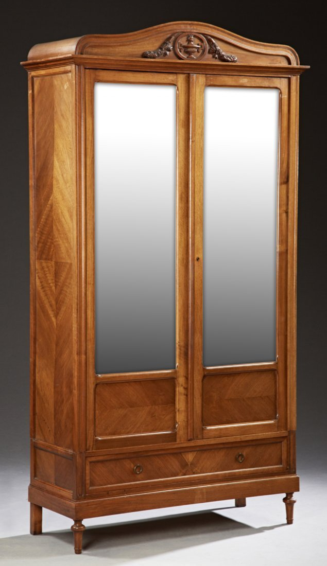 French Louis XV Style Carved Mahogany Armoire, c. 1910,