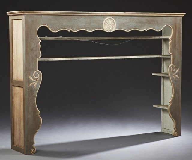 French Polychromed Carved Oak Plate Rack, 19th c., the