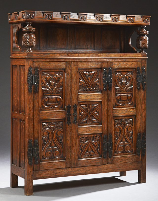 French Renaissance Style Carved Oak Sideboard, early