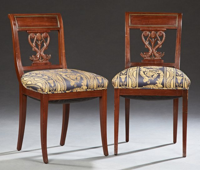 Pair of French Style Ormolu Mounted Carved Mahogany