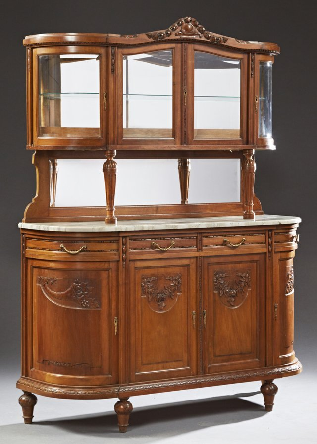Louis XVI Style Carved Walnut Marble Top Buffet a Deux