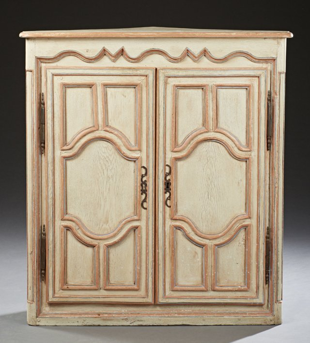 French Louis XV Style Polychromed Oak Corner Cabinet,
