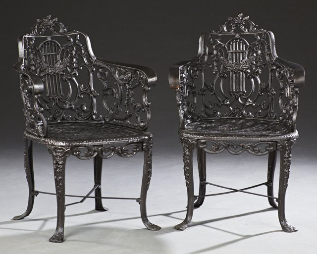 Pair of Wrought Iron Garden Armchairs, 20th c., with