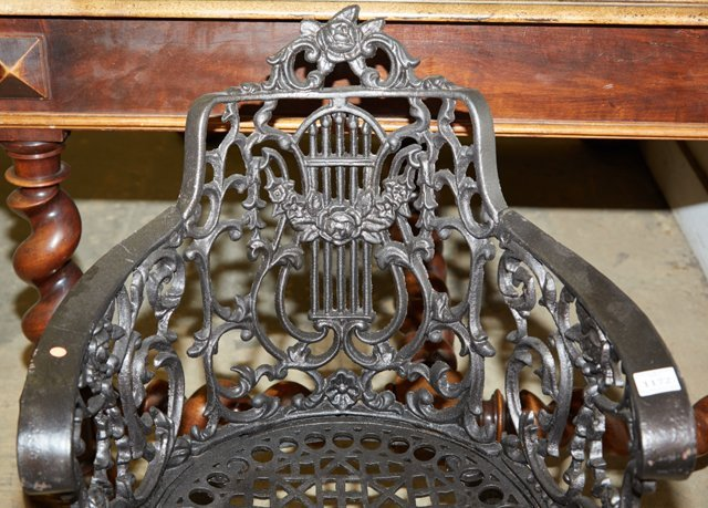 Pair of Wrought Iron Garden Armchairs, 20th c., with - 5