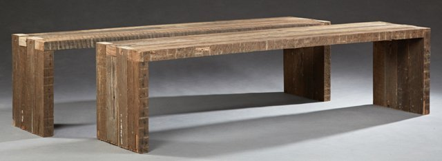 Pair of Large Carved Cypress Benches, 20th c.,