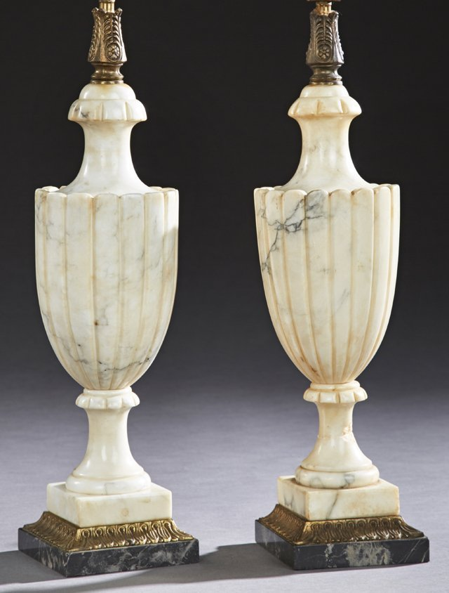 Pair of Carved Urn Form Alabaster Lamps, 20th c., with