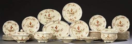French FiftyFive Piece Set of Ceramic Dinnerware c