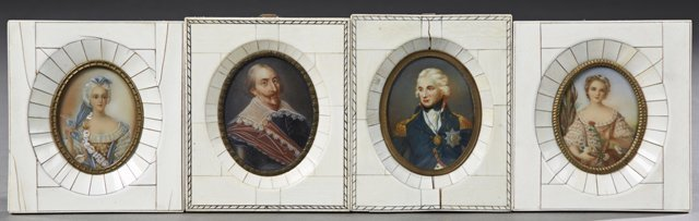 Group of Four Miniature Portraits, 19th c., two of