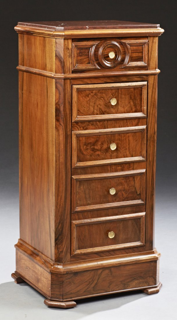 French Louis Philippe Style Carved Walnut Marble Top