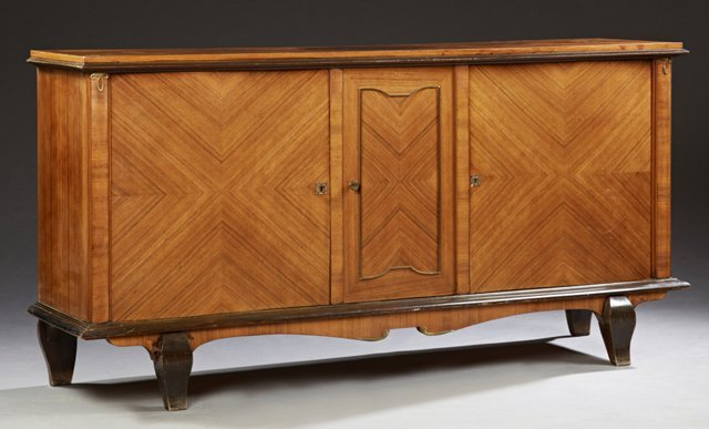 French Carved Mahogany Sideboard, 20th c., with a
