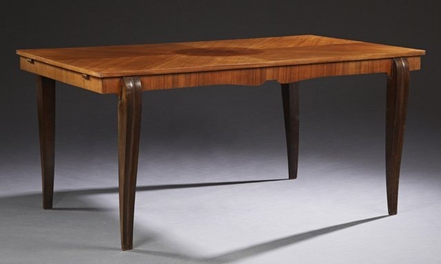 French Art Deco Carved Mahogany Dining Table, c. 1940,