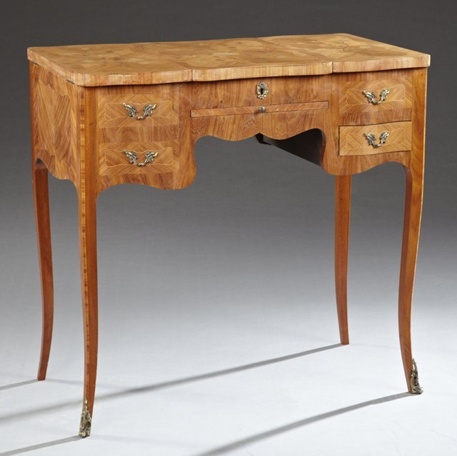 French Louis XV Style Marquetry Inlaid Mahogany